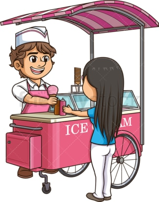 Man selling ice cream to woMan. PNG - JPG and vector EPS (infinitely scalable).
