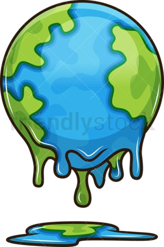 Melting earth. PNG - JPG and vector EPS file formats (infinitely scalable). Image isolated on transparent background.