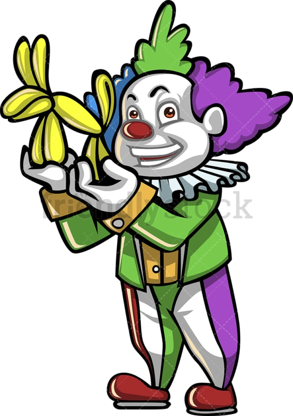 Party clown with dog balloon. PNG - JPG and vector EPS (infinitely scalable).
