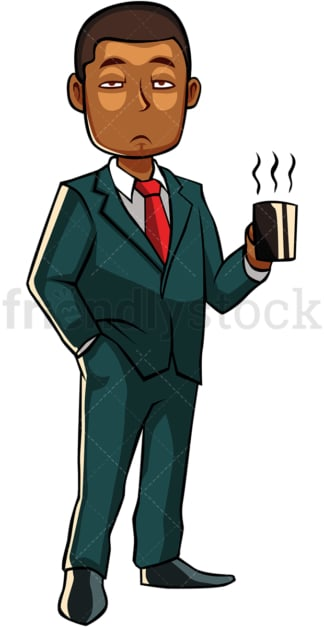 Sleepy black man holding cup of coffee. PNG - JPG and vector EPS file formats (infinitely scalable). Image isolated on transparent background.