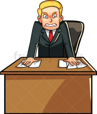 Angry businessman behind desk. PNG - JPG and vector EPS file formats (infinitely scalable). Image isolated on transparent background.