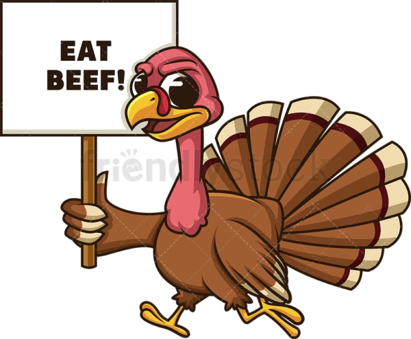 Angry turkey eat beef sign. PNG - JPG and vector EPS (infinitely scalable).