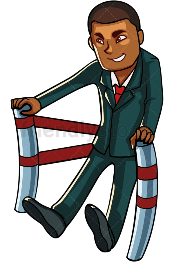 Black business man in slingshot launching. PNG - JPG and vector EPS file formats (infinitely scalable). Image isolated on transparent background.