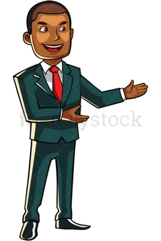 Black business man pointing to the side. PNG - JPG and vector EPS file formats (infinitely scalable). Image isolated on transparent background.