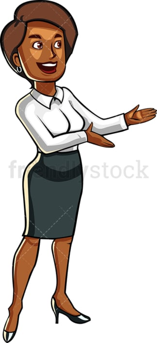 Black business woman giving presentation. PNG - JPG and vector EPS file formats (infinitely scalable). Image isolated on transparent background.