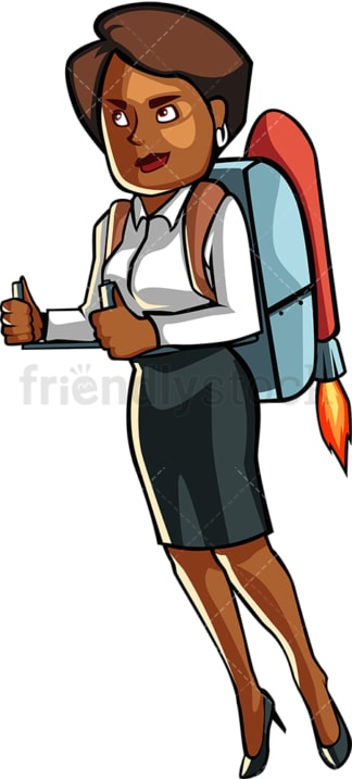 Black business woman with jetpack. PNG - JPG and vector EPS file formats (infinitely scalable). Image isolated on transparent background.