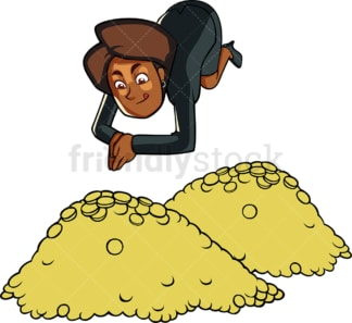 Black businesswoman diving in riches. PNG - JPG and vector EPS file formats (infinitely scalable). Image isolated on transparent background.