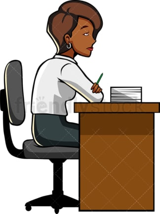 Black woman fed up at work. PNG - JPG and vector EPS file formats (infinitely scalable). Image isolated on transparent background.