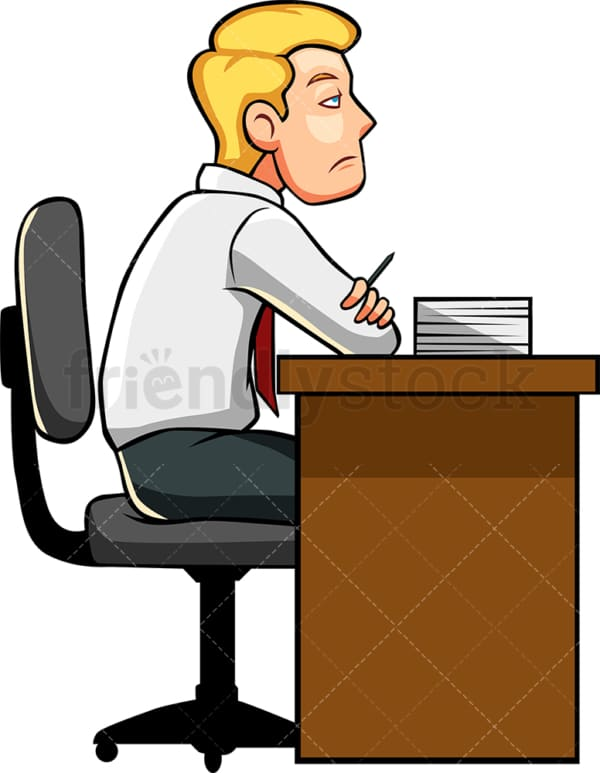 Bored man not doing work. PNG - JPG and vector EPS file formats (infinitely scalable). Image isolated on transparent background.