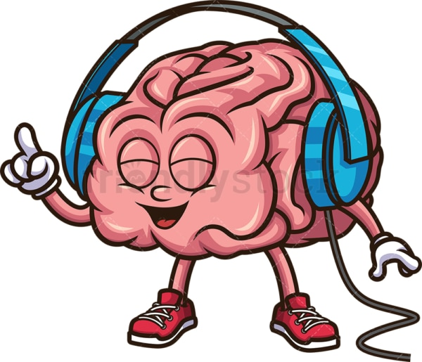 Brain with headphones. PNG - JPG and vector EPS (infinitely scalable).