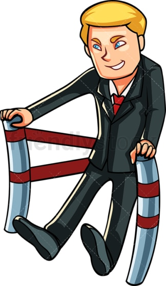 Business man pushing forward. PNG - JPG and vector EPS file formats (infinitely scalable). Image isolated on transparent background.
