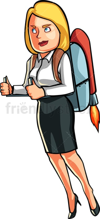 Business woman wearing jetpack. PNG - JPG and vector EPS file formats (infinitely scalable). Image isolated on transparent background.