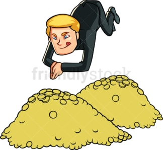 Businessman diving in gold coins. PNG - JPG and vector EPS file formats (infinitely scalable). Image isolated on transparent background.