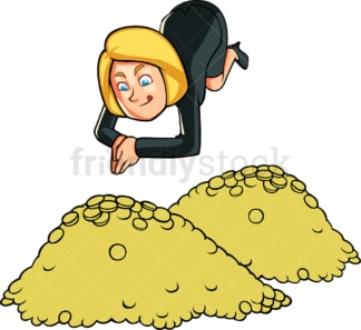 Businesswoman diving in pile of coins. PNG - JPG and vector EPS file formats (infinitely scalable). Image isolated on transparent background.