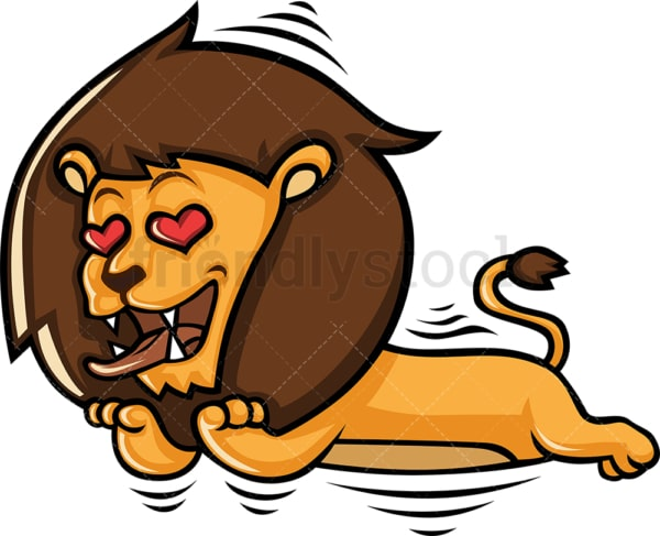 Cute lovestruck lion falling in love. PNG - JPG and vector EPS (infinitely scalable).