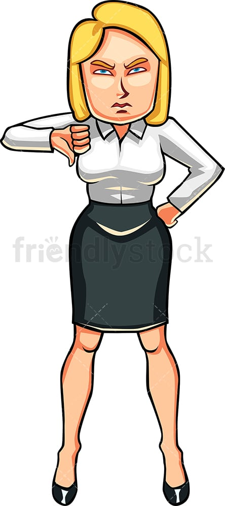 Disappointed businesswoman thumbs down. PNG - JPG and vector EPS file formats (infinitely scalable). Image isolated on transparent background.