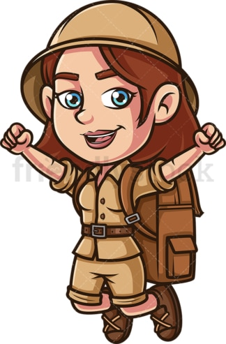 Excited woman explorer. PNG - JPG and vector EPS (infinitely scalable).