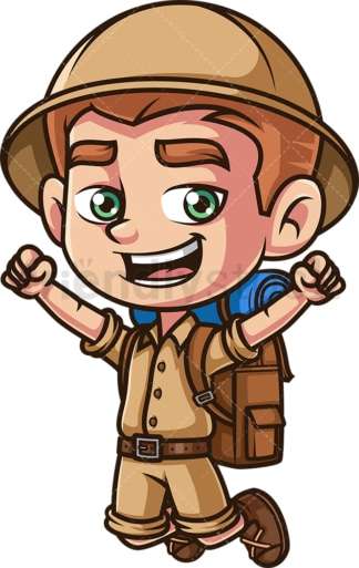 Happy boy explorer. PNG - JPG and vector EPS (infinitely scalable).