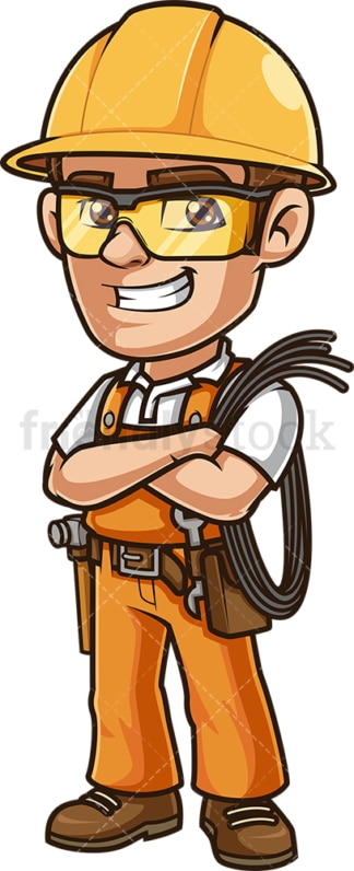 Happy electrician holding electrical cable. PNG - JPG and vector EPS (infinitely scalable).