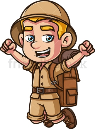 Happy male safari explorer cheering. PNG - JPG and vector EPS (infinitely scalable).