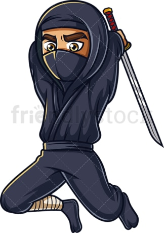 Japanese ninja attacking. PNG - JPG and vector EPS (infinitely scalable).