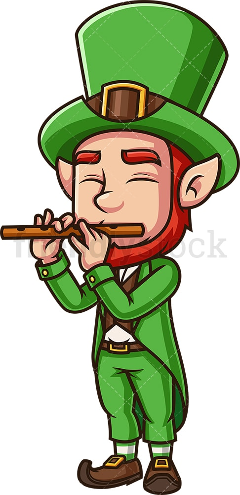 Leprechaun playing flute. PNG - JPG and vector EPS (infinitely scalable). Image isolated on transparent background.