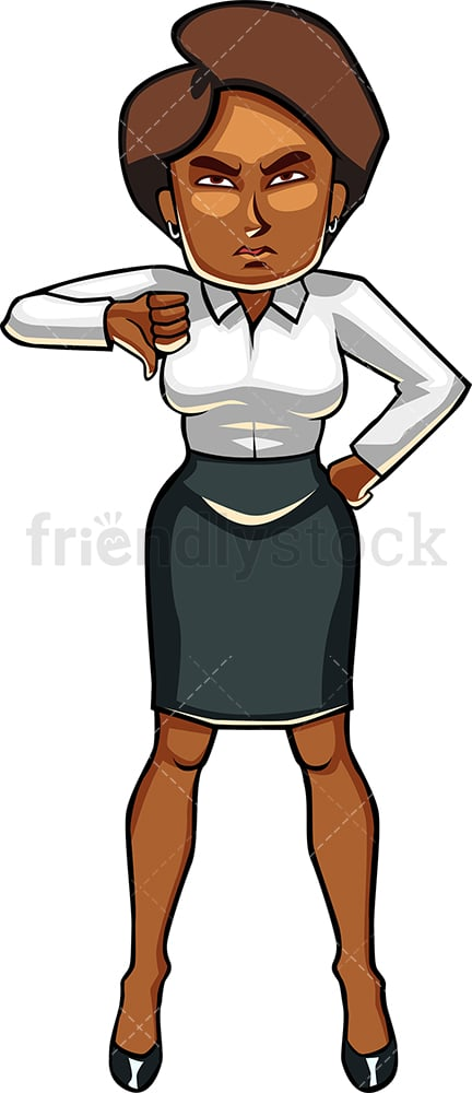 Let down black businesswoman thumbs down. PNG - JPG and vector EPS file formats (infinitely scalable). Image isolated on transparent background.