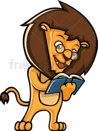 Lion reading a book. PNG - JPG and vector EPS (infinitely scalable).