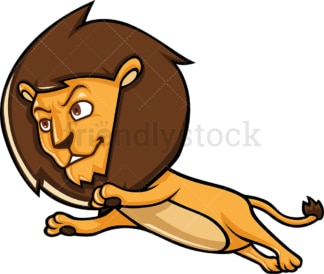 Lion jumping as it runs. PNG - JPG and vector EPS (infinitely scalable).