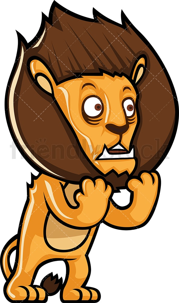 Scared lion. PNG - JPG and vector EPS (infinitely scalable).