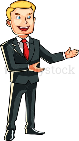 Man in suit giving a presentation. PNG - JPG and vector EPS file formats (infinitely scalable). Image isolated on transparent background.