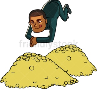 Rich black businessman with gold. PNG - JPG and vector EPS file formats (infinitely scalable). Image isolated on transparent background.