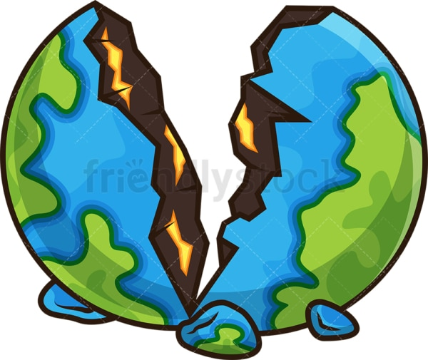Shattered earth cut in half. PNG - JPG and vector EPS file formats (infinitely scalable). Image isolated on transparent background.