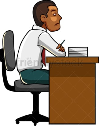 Spiritless black man at work. PNG - JPG and vector EPS file formats (infinitely scalable). Image isolated on transparent background.