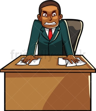 Upset black businessman behind desk. PNG - JPG and vector EPS file formats (infinitely scalable). Image isolated on transparent background.