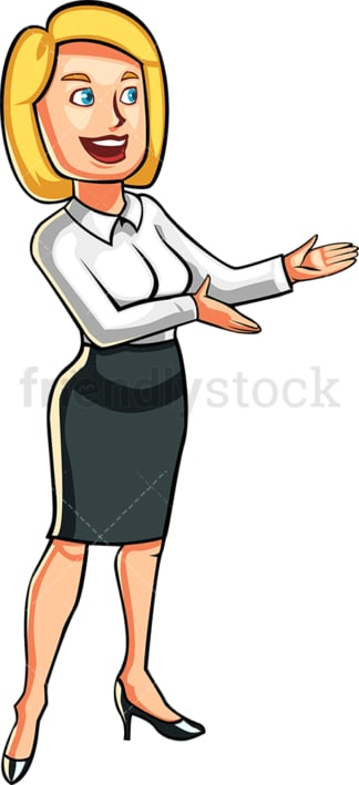 Woman in business attire presenting. PNG - JPG and vector EPS file formats (infinitely scalable). Image isolated on transparent background.