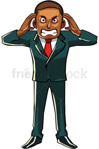 Black businessman going crazy. PNG - JPG and vector EPS file formats (infinitely scalable). Image isolated on transparent background.
