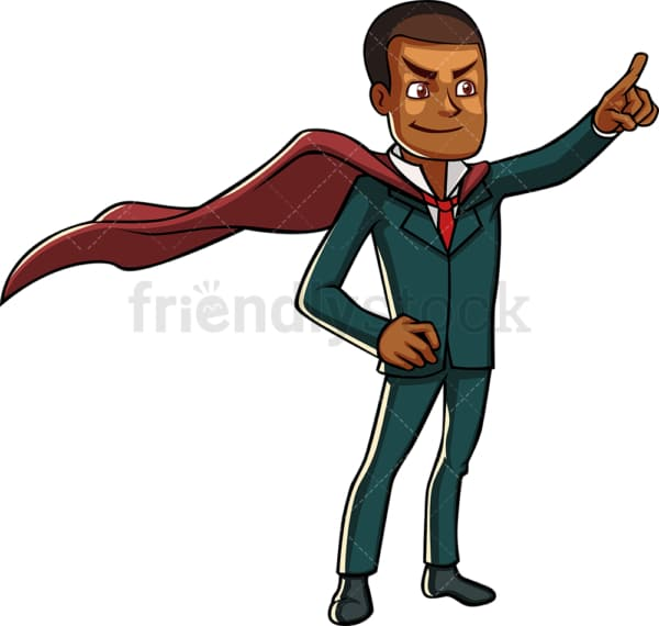 Black businessman with superhero cape. PNG - JPG and vector EPS file formats (infinitely scalable). Image isolated on transparent background.