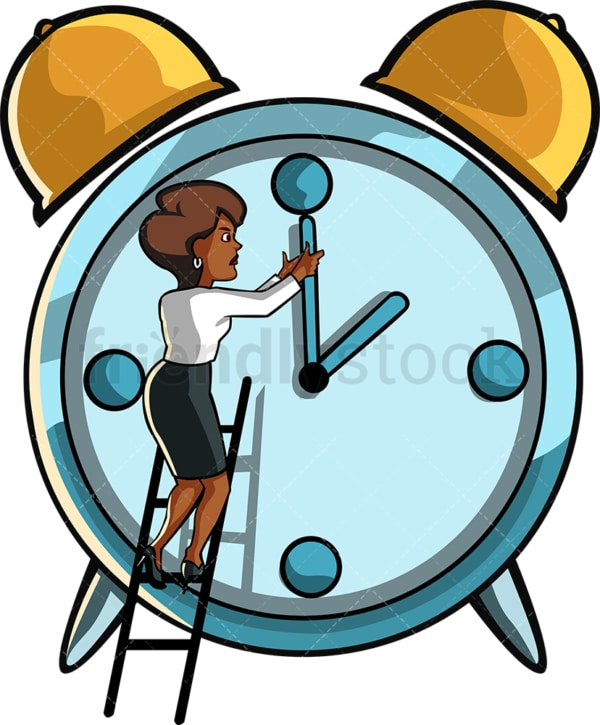 Black businesswoman changing the time. PNG - JPG and vector EPS file formats (infinitely scalable). Image isolated on transparent background.
