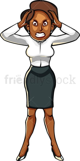 Black businesswoman going crazy. PNG - JPG and vector EPS file formats (infinitely scalable). Image isolated on transparent background.
