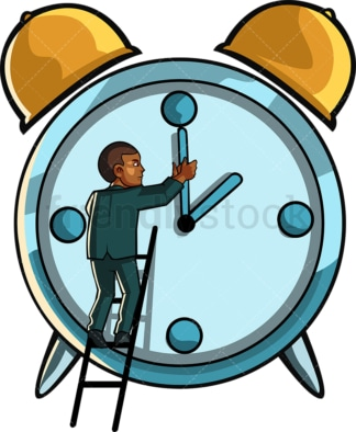 Black man turning back to time. PNG - JPG and vector EPS file formats (infinitely scalable). Image isolated on transparent background.