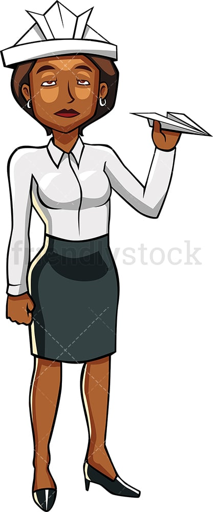 Bored black woman trying to kill time. PNG - JPG and vector EPS file formats (infinitely scalable). Image isolated on transparent background.