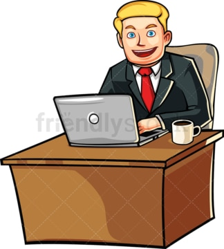 Business man behind desk with laptop. PNG - JPG and vector EPS file formats (infinitely scalable). Image isolated on transparent background.