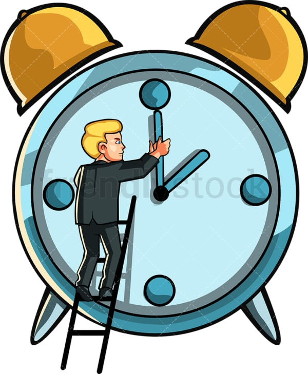 Business man changing the time on clock. PNG - JPG and vector EPS file formats (infinitely scalable). Image isolated on transparent background.
