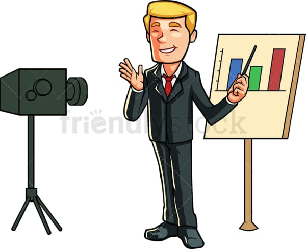 Business man recording himself. PNG - JPG and vector EPS file formats (infinitely scalable). Image isolated on transparent background.