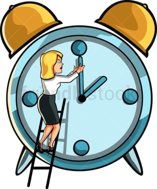 Business woman trying to go back in time. PNG - JPG and vector EPS file formats (infinitely scalable). Image isolated on transparent background.