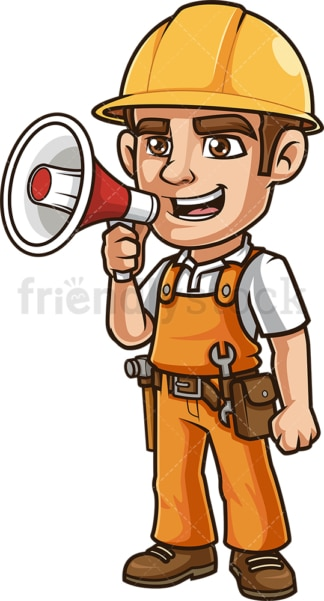 Construction worker making announcement with loudspeaker. PNG - JPG and vector EPS.