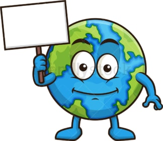 Earth holding blank sign. PNG - JPG and vector EPS (infinitely scalable).