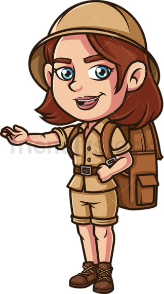 Female explorer presenting. PNG - JPG and vector EPS (infinitely scalable).