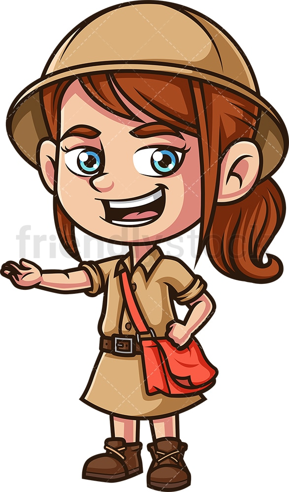 Girl explorer giving presentation. PNG - JPG and vector EPS (infinitely scalable).
